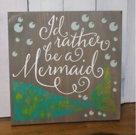 """""""I'd Rather Be a Mermaid"""" Painted Canvas"""