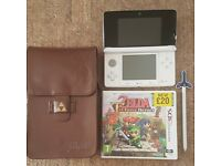Nintendo 3DS ice white console with zelda game and accessories