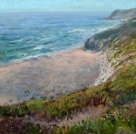Original painting titled 'Sea View (Bedruthan Steps, Cornwall)' by Edita Tamulyte 2015