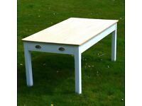 Vintage pine farmhouse dining table seats 8 with two drawers