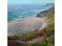 Superb painting titled 'Sea View (Bedruthan Steps, Cornwall)' by Edita Tamulyte 2015