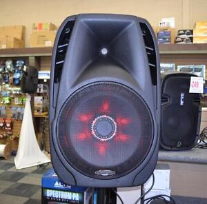 "ACOUSTIC AUDIO 4315TH 15"" 1000 WATT PORTABLE RECHARGEABLE PA SYSTEM W/ 2 BUILT-IN DUAL VHF WIRELESS MICROPHONES AND LED"
