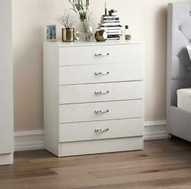 Chest of drawer 5 Drawer White