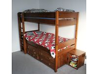 quality wooden bunk bed with draws and book case from leeks cost £750