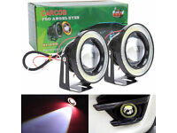HIGH POWER WHITE LED 3.5 HALO ANGEL EYES UNIVERSAL PROJECTOR COB FOG SPOT LAMPS