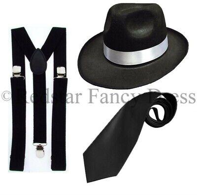Gangster Trilby Hut Klammern Krawatte 1920ER Gatsby Bugsy Malone Al - Bugsy Malone Kostüm