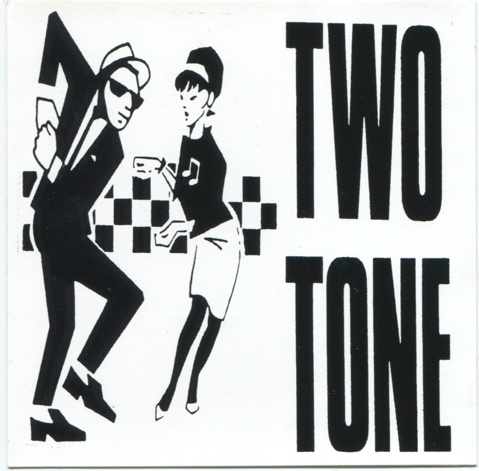 TWO 2 TONE: STICKER **FREE SHIPPING** - ska skank rude girl boy