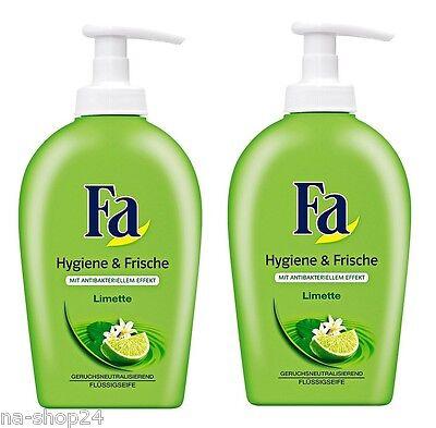 (9,98€/L) 2x 250ml Fa Cremeseife Hygiene & Frische Limette Flüssigseife Spender