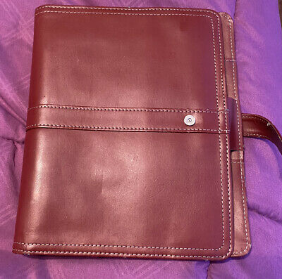 Day-timer Leather Desk Size Planner Magnetic Tab 5.5 X 8.5. Accessories Red