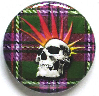 punk skull on scottish tartan retro badge button pin (1inch/25mm diameter) 70s