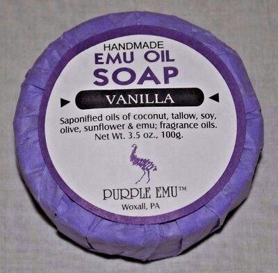 PURPLE EMU ALL NATURAL HANDMADE EMU OIL BAR SOAP VANILLA