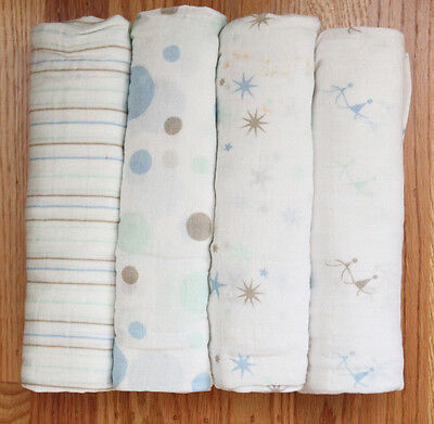 """Aden Anais Swaddle Blanket ~ Pink/Rose or Blue ~ 47"""" x 47"""""""