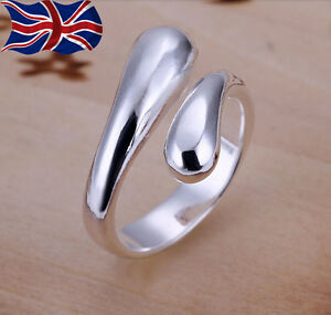 925 Sterling Silver Adjustable Ring Teardrop Thumb Finger Band Ring UK