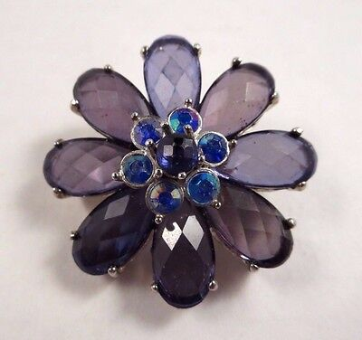 Vintage Style Multi Faceted Purple Petal/AB Rhinestone Flower Brooch Pin Silver - Multi Petal Flower Pin