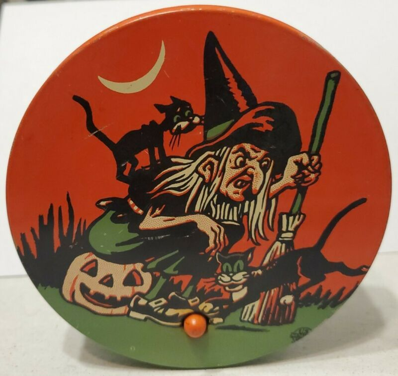 VINTAGE US METAL TOY TIN LITHO HALLOWEEN WITCH BROOM BLACK CATS MOON  NOISEMAKER