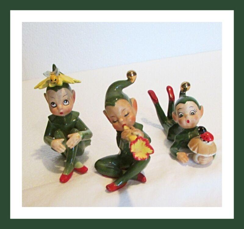 Pixies Elf Elves by Josef Originals, Set of 3, ceramic figurines,1950s, htf,Nice