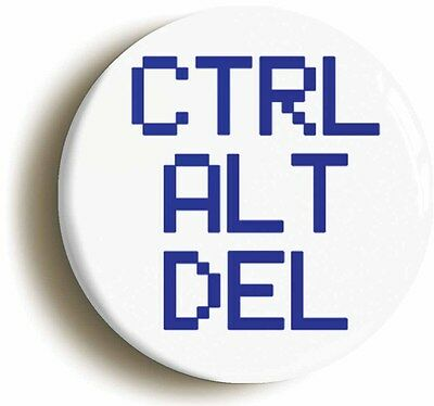 ctrl alt del badge button pin (size 1inch/25mm diameter) nineties geek computer