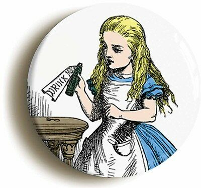 alice in wonderland badge button pin drink me (1inch/25mm diametr) lewis carroll