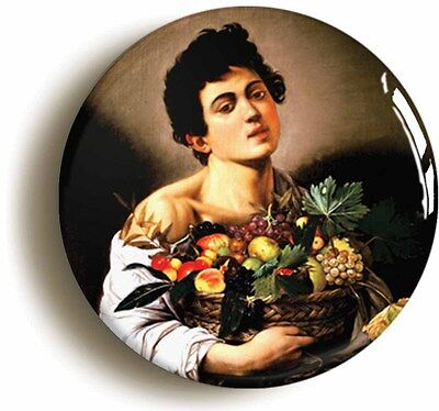 caravaggio boy with fruit badge button pin (size is 1inch/25mm diameter)