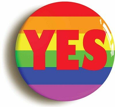 rainbow yes badge button pin (size is 1inch/25mm diameter) lgbt pride diversity
