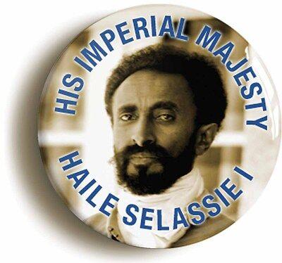 emperor haile selassie badge button pin (1inch/25mm diamtr) reggae rastafarian