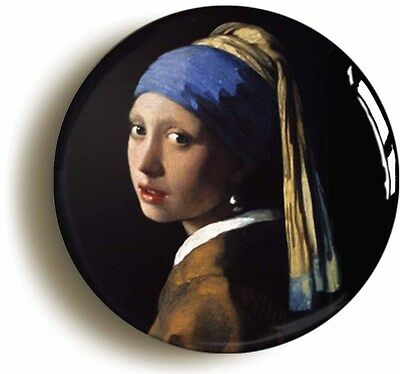 girl with a pearl earring vermeer badge button pin - dutch renaissance art
