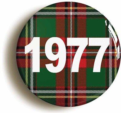 1977 scottish tartan retro seventies punk rock badge button pin (1inch/25mm)