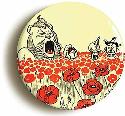 enchanted poppies wizard of oz badge button pin (size 1inch/25mm diameter)