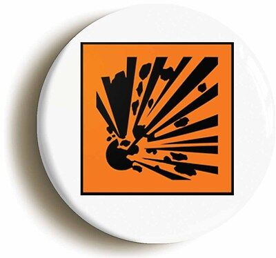 explosive hazard symbol badge button pin (1inch/25mm diamtr) science geek chic