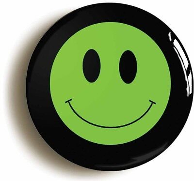 green smiley acid house eighties badge button pin (size is 1inch/25mm diameter)