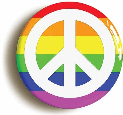rainbow peace badge button pin (size 1inch/25mm diameter) lgbt pride diversity