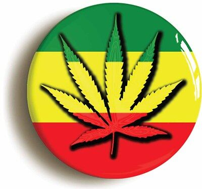 cannabis leaf rasta colour badge button pin (1inch/25mm diameter) sixties 60s