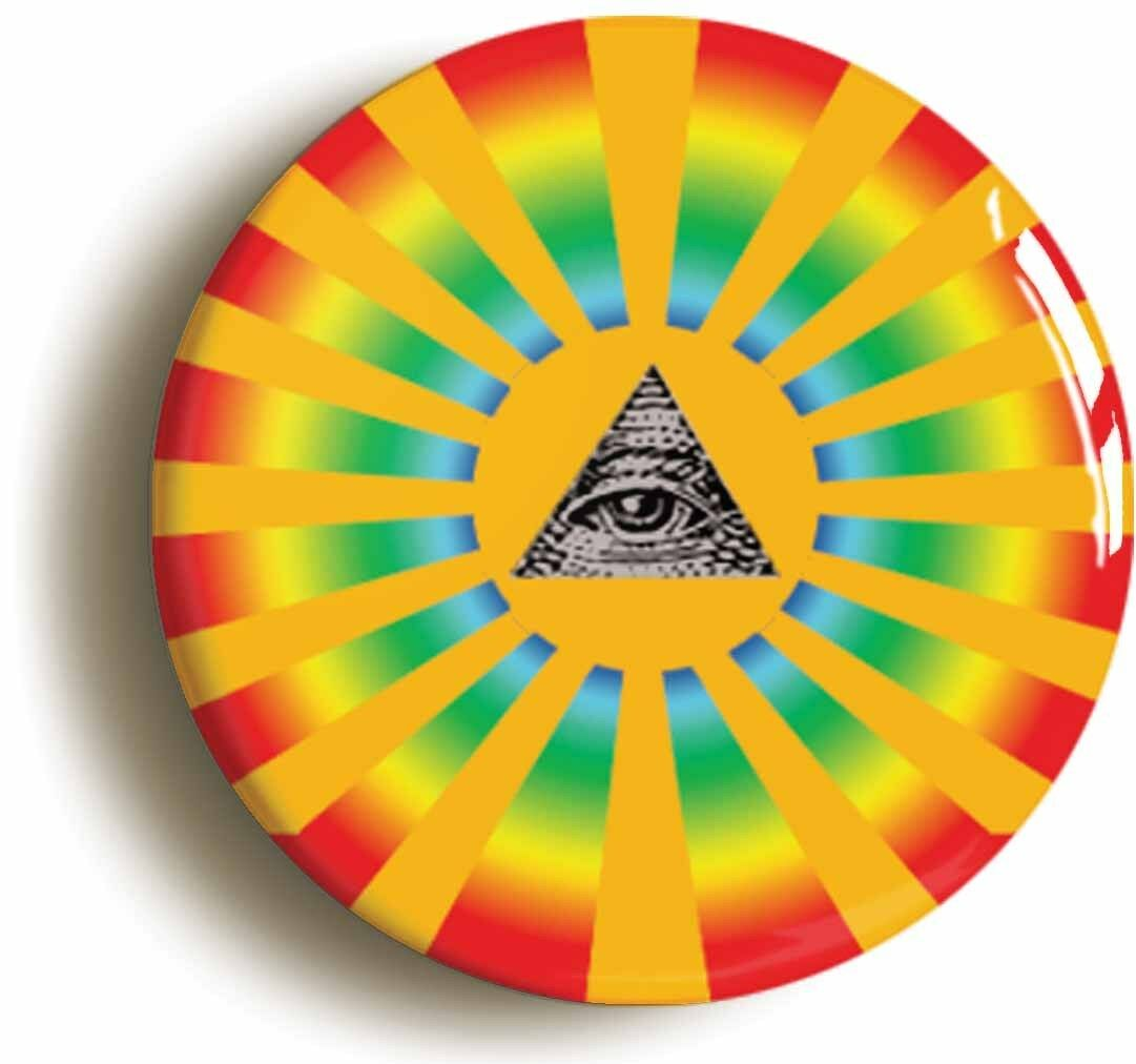 psychedelic sun badge button pin (size is 1inch/25mm diameter) sixties hippie