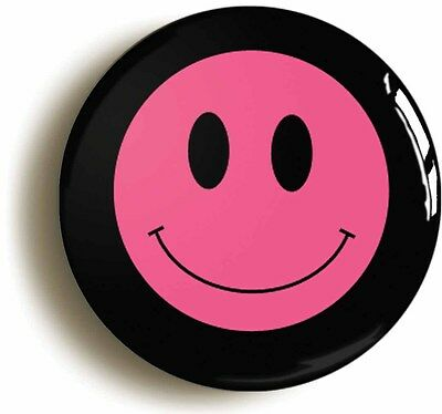 pink smiley acid house eighties badge button pin (size is 1inch/25mm diameter)