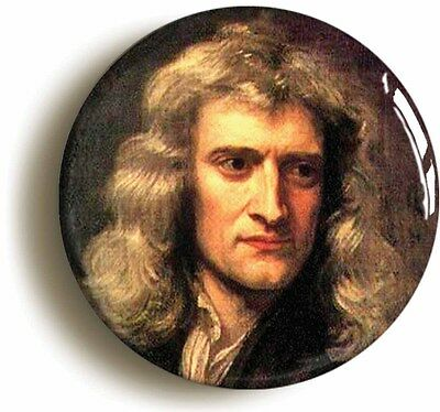 isaac newton badge button pin (size is 1inch/25mm diameter) science gravity