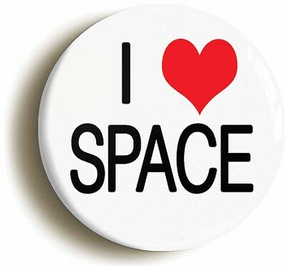 i love heart space badge button pin (1inch/25mm diamtr) science geek chic nerd