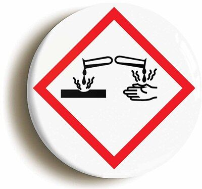 science hazard corrosive badge button pin (size is 1inch/25mm diameter) geek