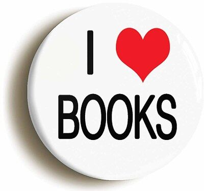 i love heart books badge button pin (1inch/25mm diameter) literature geek chic