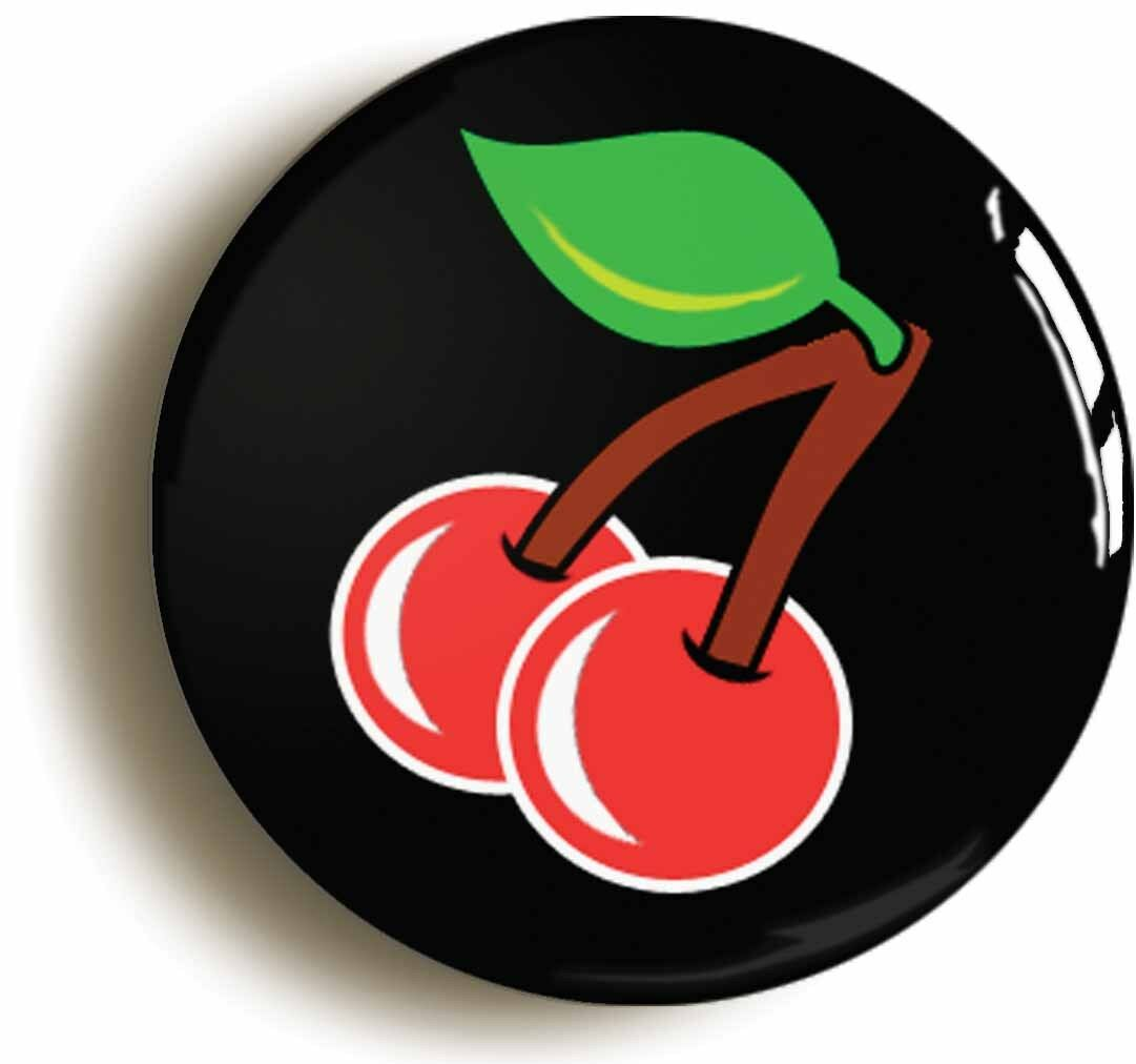 cherries eighties retro badge button pin (size is 1inch/25mm diameter)