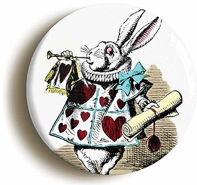 alice in wonderland rabbit herald badge button pin (1inch/25mm) lewis carroll