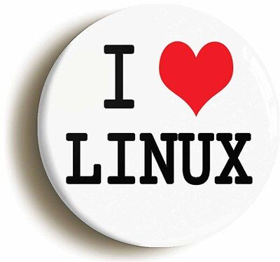 i heart love linux badge button pin (1inch/25mm) computer lamp unix geek fun