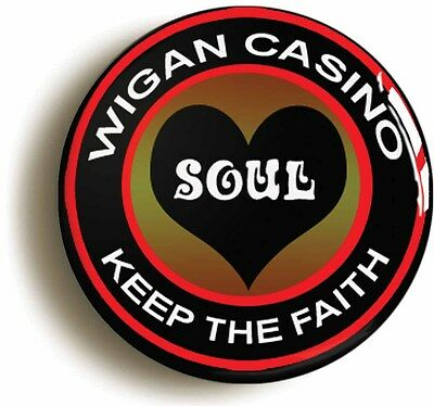 wigan casino northern soul badge button pin (size is 1inch/25mm diameter)