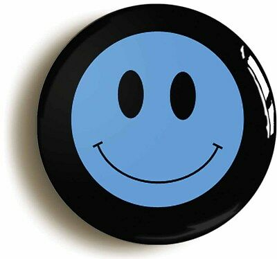 blue smiley acid house eighties badge button pin (size is 1inch/25mm diameter)