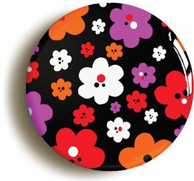 flower pattern retro badge button pin (1inch/25mm diamtr) hippie sixties 1960s