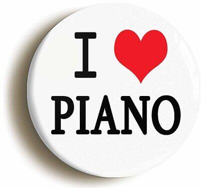 i heart love piano badge button pin (1inch/25mm diameter) music teacher school