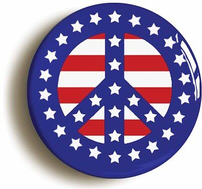 peace star spangled banner usa flag retro sixties badge button pin 1inch/25mm