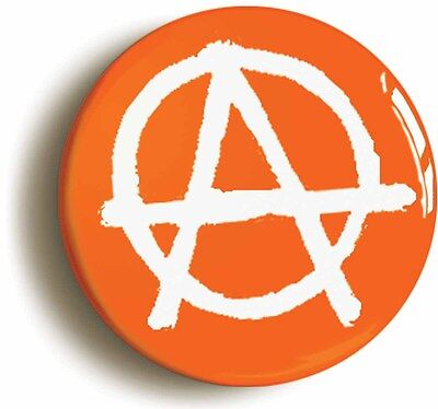 anarchy punk badge button pin orange (size is 1inch/25mm diameter)