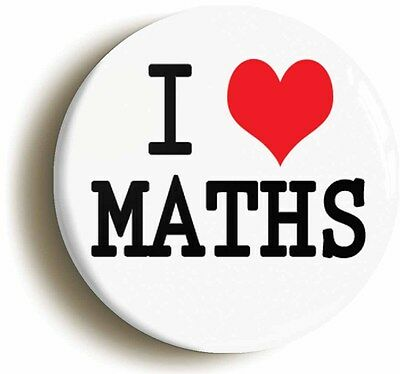 i heart love maths badge button pin (1inch/25mm diameter) school geek chic