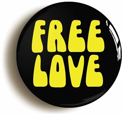 free love retro hippie sixties badge button pin (1inch/25mm diameter) 1960s