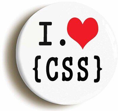i heart love css badge button pin (1inch/25mm) website developer geek chic